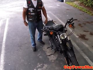 Straight biker guy cocksucks broker for cash...
