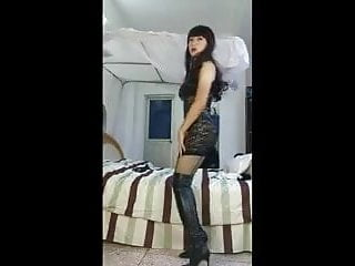 Chinese CD in Black Satin and Lace Dress