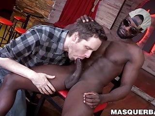 Mature dude sucks black cock after dancing...