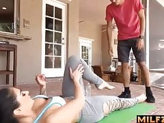 Son cums in mom's pussy - help with physical exercises