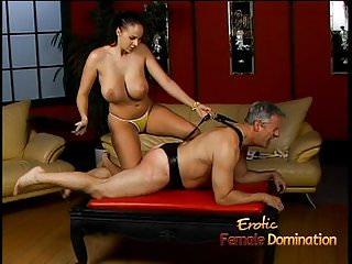 Lusty stunner really enjoys spanking a latex...