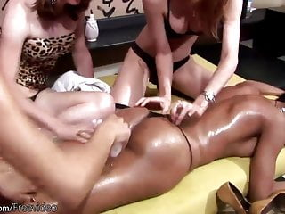 Four shemales enjoy oil massage and anal sex...