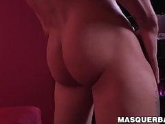 Masked muscular homo strokes his huge throbbing cock