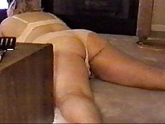 Horny BBW wife spanked and sucks