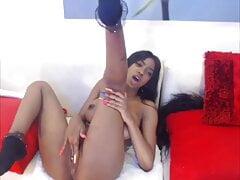 Sexy Ebony Solo Dildo Cream pt1