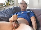 Cum with a cockring, estim and sound.