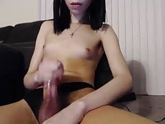 Very Shy Skinny T-girl with a Large Clytorys