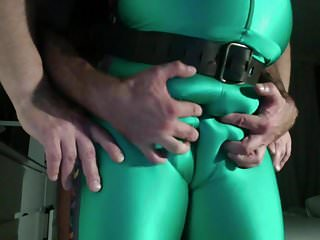 Playng with my slave hes bulge...