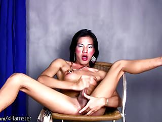 Hot ladyboy is fingering her ass while jerking...