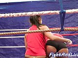 Pussylicking euro dykes wrestle on the floor