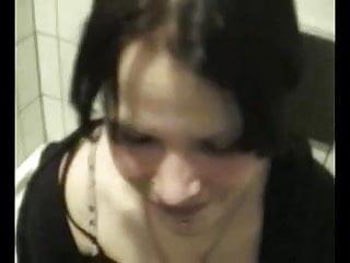 Emo goth Bj in toilet
