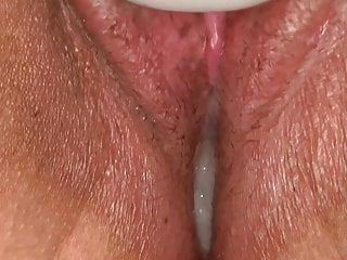 Using My Magic Wand As Hubbys Hot Cum Slowly Leaks Out