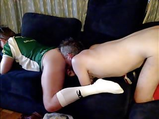 dad and his son taking turns licking ass