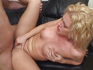 Busty blonde her boyfriend couch...