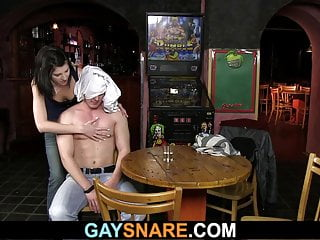 Girl watch her gay buddy fucks him