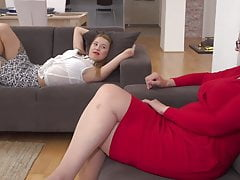 Lesbian home sex with mature mom and daughter