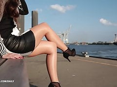 leather mini dress pantyhose- outfit for dinner lookbookPorn Videos