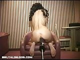 Busty amateur fucked non stop by a brutal dildo machine