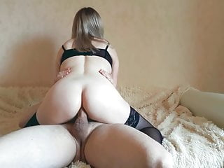 Little bitch takes a full grown penis in her ass and cum on face