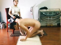 Busty Secretary gives pantyhose footjob and gets huge cumshot on feet