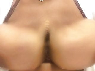 Alone thick black whore bouncing big tits