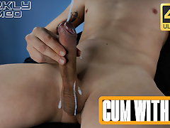 Horny Guy Wanking Big Dick Sitting in a Chair Moaning