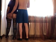 Sexy adult mom has anal sex with stepson