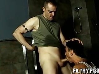 Pissing fetish mixed with deepthroating for horny jock...
