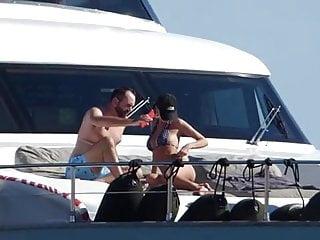 Emily Ratajkowksi on a yacht