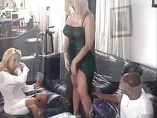 2 hot blondes and a black dude playing strip-poker then fucks