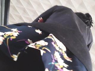 Under black pantyhose on an escalator...