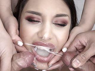 Premium Bukkake – Roxy Lips swallows 105 mouthful cum masses