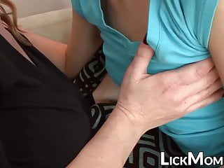 MILF dyke with massive tits tastes stepdaughters pussy in 69