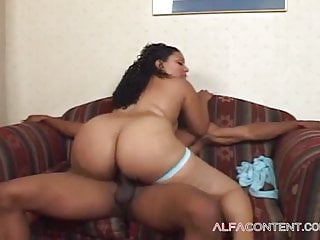 Curly cunt with a big ass has loud sex