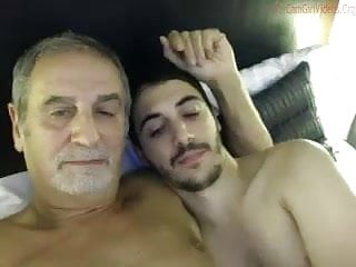Daddy is kissed and sucked by his young...