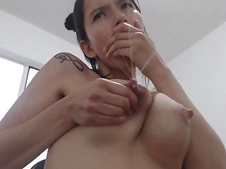 Beautiful milk machine nipples on latina...