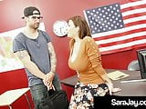 Milf Teacher Sara Jay Gets Bathed In Cum By Foreign Student!