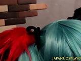 Blue haired Hatsune Miko creampied