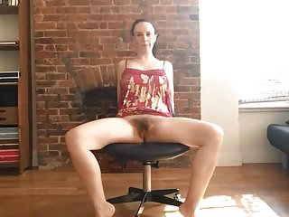 Girl Wanking Herself Off on Office Chair