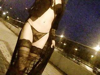 Outdoor night walk public railway station black lingerie...