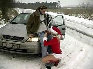 Das christkind segnet Autofahrer mit Sex