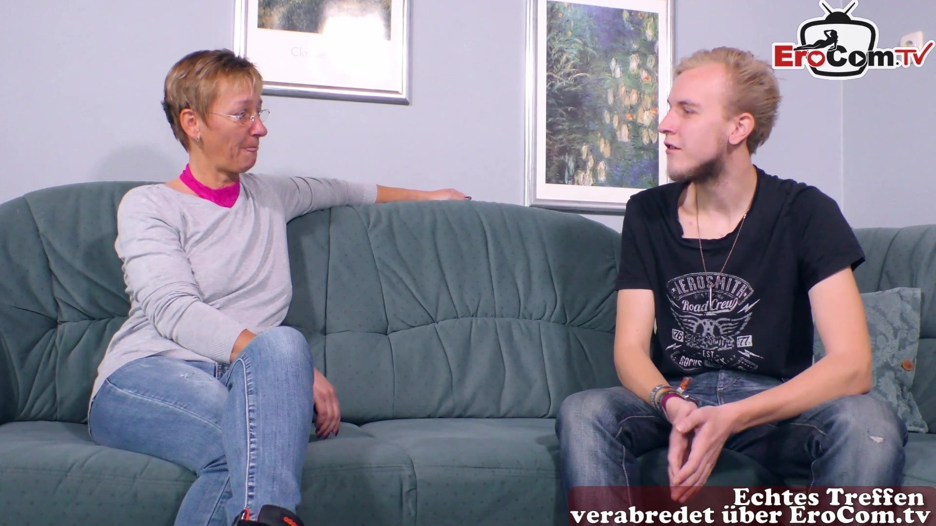 German mature housewife fucks younger guy at home