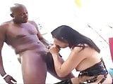 Asian slut sucking fucking big black cock