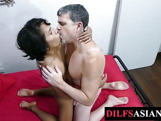 Asian twink breeded by DILF after feet licking