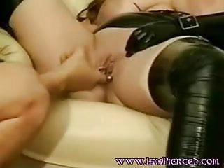 Pierced wife with heavy pussy rings. Pierced labia.