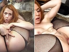 Flexible redhead fucked in pretzel position with her feet behind her head