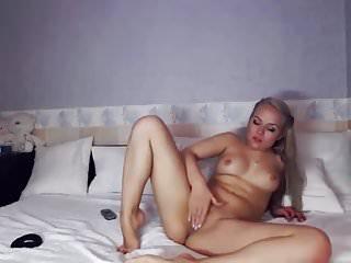 blonde smiles and masturbates