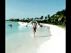 Huge boobs running on beach