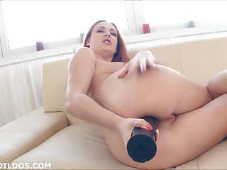 Big black anal dildo redhead