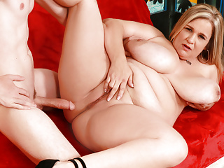 Fat auntie cami cooper lets him tittyfuck her...